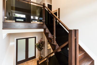 custom glass and wood staircase