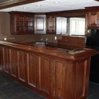 Wood bar and cabinets
