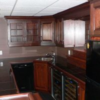 cabinets behind bar