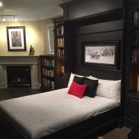 open murphy bed beside fireplace in library
