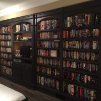 custom library bookshelves filled with books