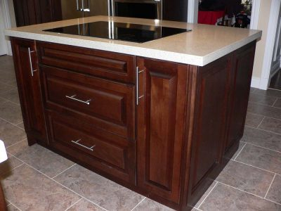 Island with built in stove top