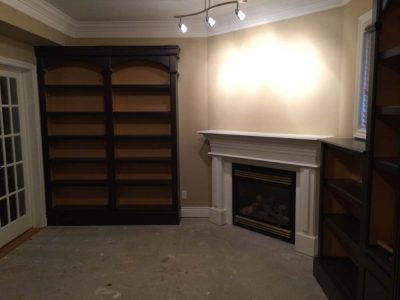 custom fireplace in library