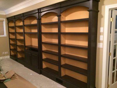 custom library bookshelves for books 2 deep