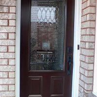 entry door with decorative glass insert