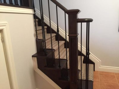 wrought iron railing on custom stair case