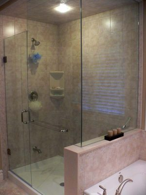 glass walk in shower